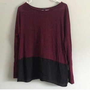 Express Maroon and Black Colorblock Long Sleeve